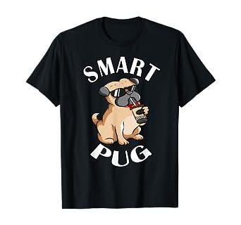 Amazon.com: Dog Drinking Milk Tea Cool Sunglasses Funny Cute Smart Pug T-Shirt: Clothing