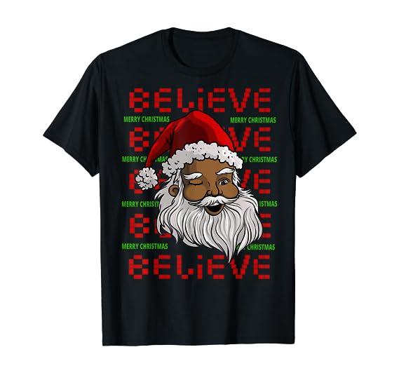 Amazon.com: Gifts Afro Melanin Merry Christmas Funny Papa Santa Believe T-Shirt: Clothing