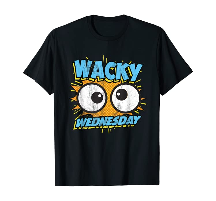e461cd8d17af Amazon.com: Wacky Wednesday Googly Eyes Silly Tshirt Comic Style Kids:  Clothing