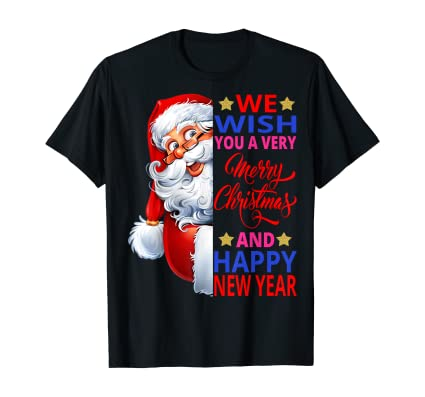 Gifts Side Santa Claus Wish a Merry Christmas Happy New Year T-Shirt: Amazon.co.uk: Clothing