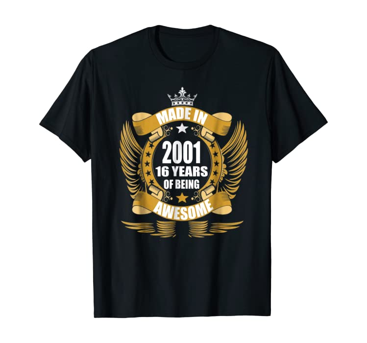 Amazon 16th Birthday Gift Idea 16 Year Old Boy Girl Shirt 2001 Clothing