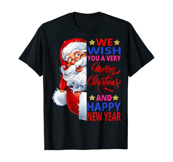 Amazon.com: Gifts Side Santa Claus Wish a Merry Christmas Happy New Year T-Shirt: Clothing