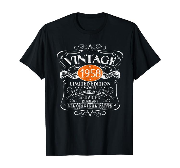dcd82c4c Amazon.com: Vintage 60th Birthday Funny Tshirt 1958 All Original Parts:  Clothing