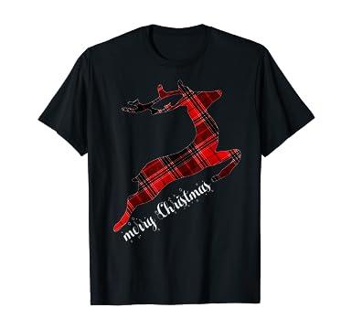 Amazon.com: Christmas Gifts - Merry Christmas Buffalo Plaid Reindeer T-Shirt: Clothing