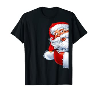 Funny Side Santa Claus Wish a Merry Christmas Happy New Year T-Shirt: Amazon.co.uk: Clothing