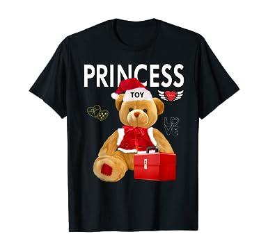 Amazon.com: Gifts Love Teddy Bear Princess Toy Santa Claus Christmas T-Shirt: Clothing