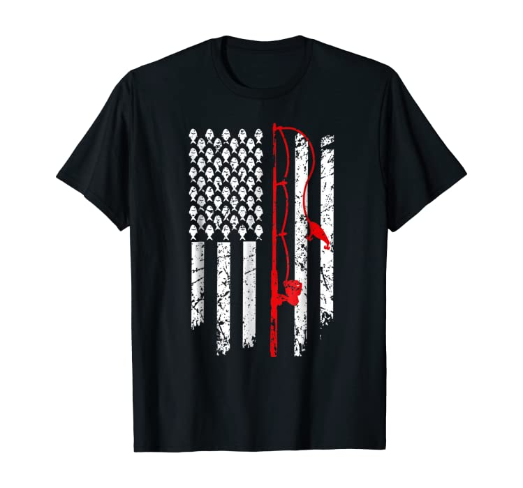 55dc2a2f7 Amazon.com: Vintage Fishing Clothes American Flag Bass Fishing T-Shirt:  Clothing
