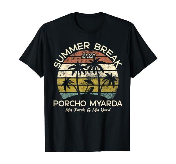 Amazon.com: Summer Porcho Myarda Staycation Quarantine Vintage T-Shirt: Clothing