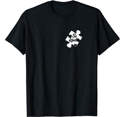 Pocket Puzzle Piece Heart Autism Awareness   Be Kind Autism T Shirt