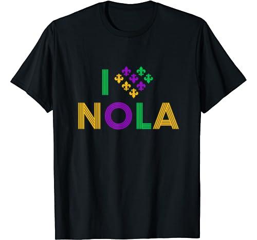 Mardi Gras I Love Nola New Orleans Vintage Retro Gift T Shirt