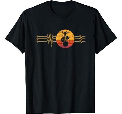 Retro Heartbeat Drummer Lifeline Vintage Music Drum Band T Shirt