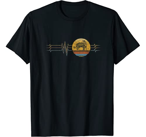 Retro Heartbeat Jaguar Animal Rescue Lifeline Vintage Gift T Shirt