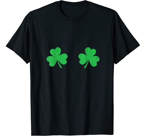 Funny St Pattys Day Women Gift Irish Shamrock Boobs T Shirt