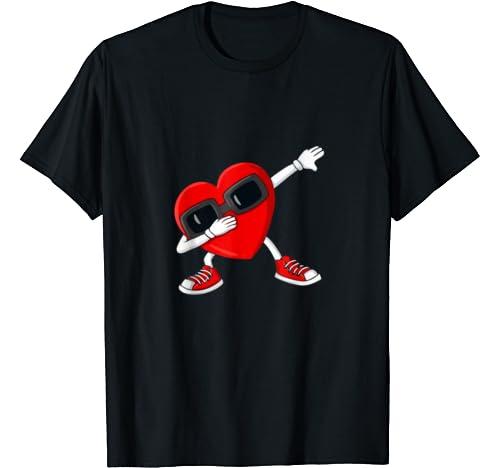 Valentines Day Dabbing Heart Funny Boys Girls Kids T Shirt