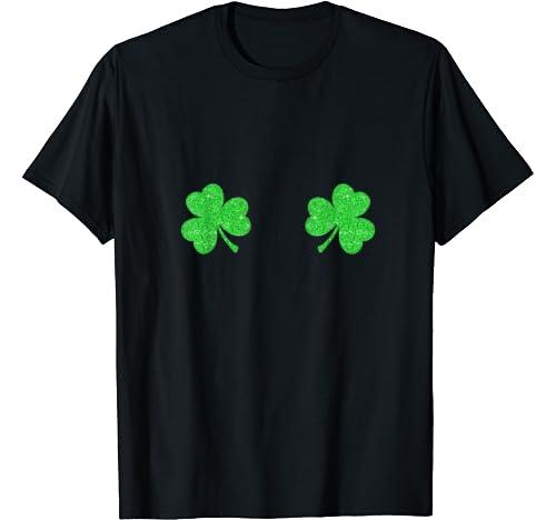 Womens Shamrock Boobs Costume Tshirt St Patricks Day Gift T Shirt