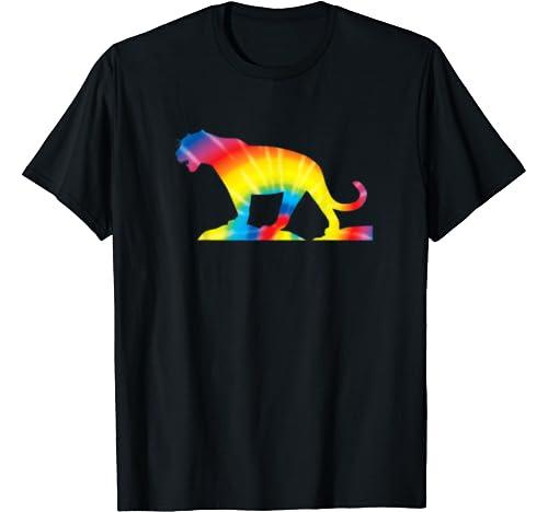 Tie Dye Jaguar Rainbow Print Panther Hippie Peace Gift T Shirt