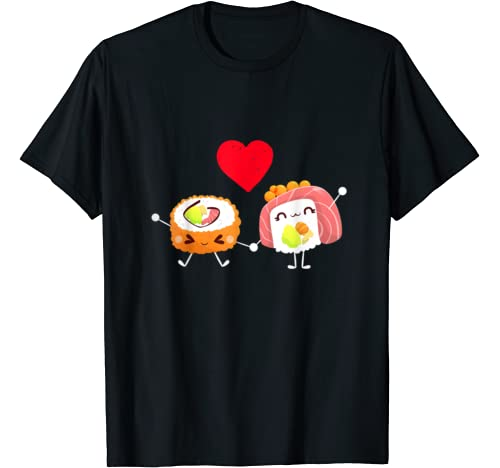 Sushi Hugging Valentines Day Cute Hold Hands In Love Gift T Shirt