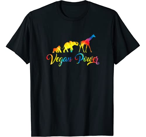 Vegan Power Vegetarian Jungle Animals Tie Dye Graphic T Shirt