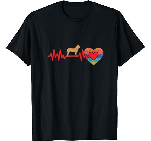 Retro Heartbeat Mastiff Dog Vintage Style Gift T Shirt