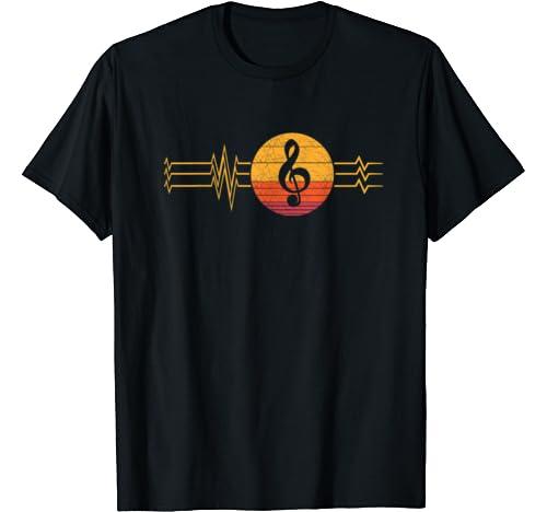 Retro Heartbeat Clef Notes Lifeline Vintage Musical Symbol T Shirt