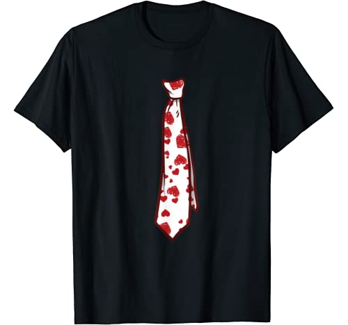 Red Love Heart Tie Valentines Day Or Proposal T Shirt