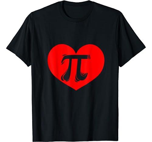 Red Heart Pi Graphic I Love Math Teacher Student Gift T Shirt