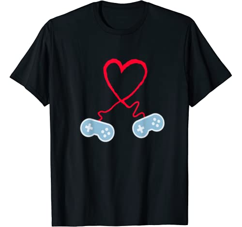 Video Gamer Heart Controllers Valentines Day Boy Girl T Shirt