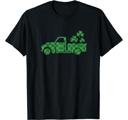 St Patricks Day Clover Green Plaid Truck T Shirt