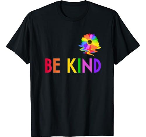 Be Kind Cute Rainbow Daisy Peace Sign Choose Kindness T Shirt
