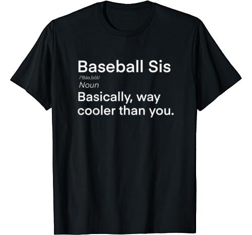 Baseball Sister Definition | Funny Big Bro Lil Sis Baseball T Shirt