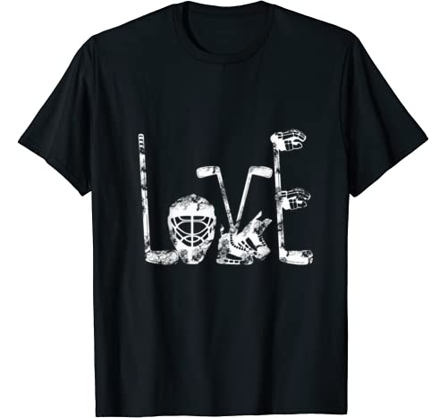Ice Hockey Valentines Day Love Cute Gift Boys Girls Goalie T Shirt