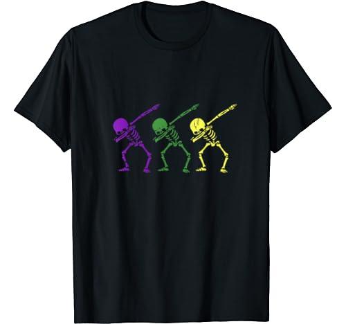 Cute Mardi Gras Skeleton Dabbing Dancing Festival Gift Lover T Shirt