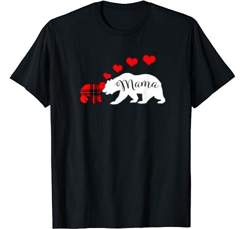 Mama Bear Valentines Day Gift Hearts Buffalo Plaid Cub Mom T Shirt