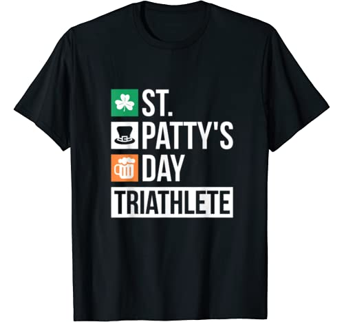 St Pattys Day T Shirt Triathlete Irish Beer Drinking Shirt T Shirt