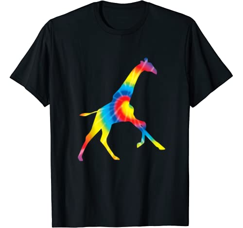 Tie Dye Giraffe Rainbow Print Ruminant Hippie Peace Gift T Shirt