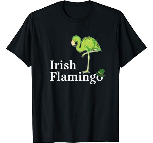 Funky Irish Flamingo Green Bird St Pattys Day T Shirt