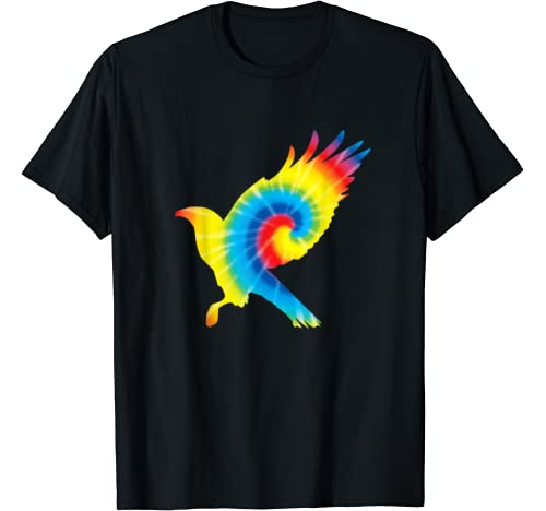 Tie Dye Hawk Rainbow Print Falcon Bird Hippie Peace Gift T Shirt