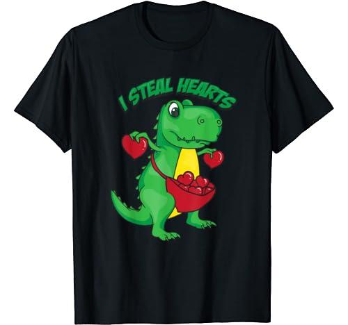 I Steal Hearts | Valentine Dinosaur Fan Gift T Shirt