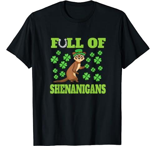 St Patricks Day Ferret Shenanigans Leprechaun Shamrock Gift T Shirt
