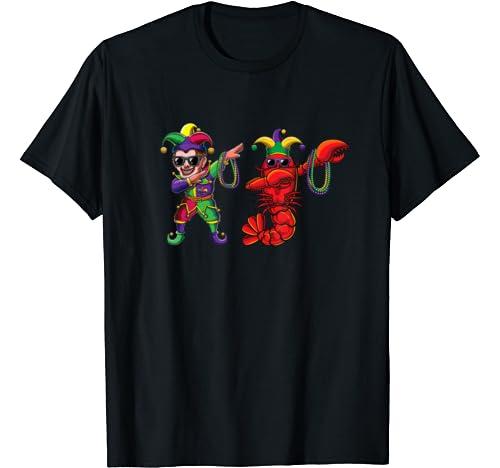 Funny Dabbing Jester Crawfish Dab Cute Mardi Gras Party Gift T Shirt