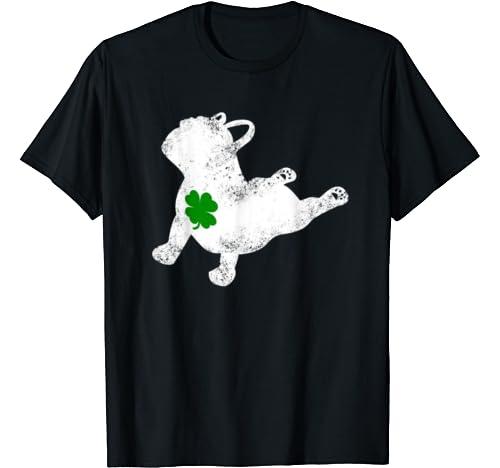 St Patricks Day Pitbull Yoga Pose Shamrock Funny Women Men T Shirt