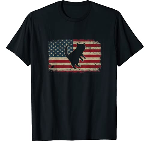 Vintage American Flag Raccoon Animals Father's Day Christmas T Shirt