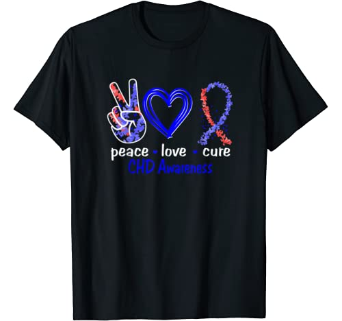 Peace Love Cure Chd Awareness T Shirt