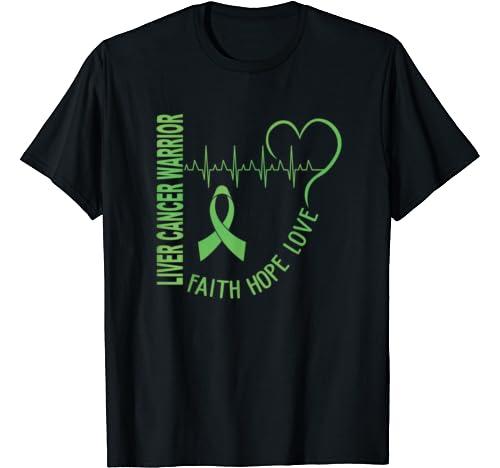 Liver Cancer Faith Hope Love Ribbon Heart Beat T Shirt
