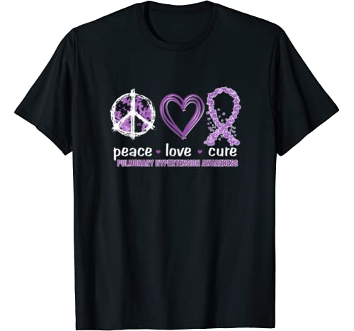 Peace Love Cure Pulmonary Hypertension Awareness T Shirt