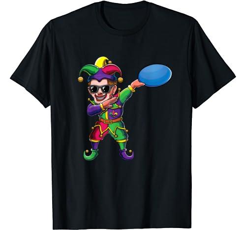 Dabbing Mardi Gras Jester Frisbee Disc Golf Dab Costume Gift T Shirt