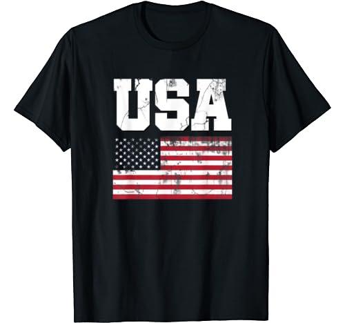 Usa Patriotic American Flag Vintage Us Distressed T Shirt