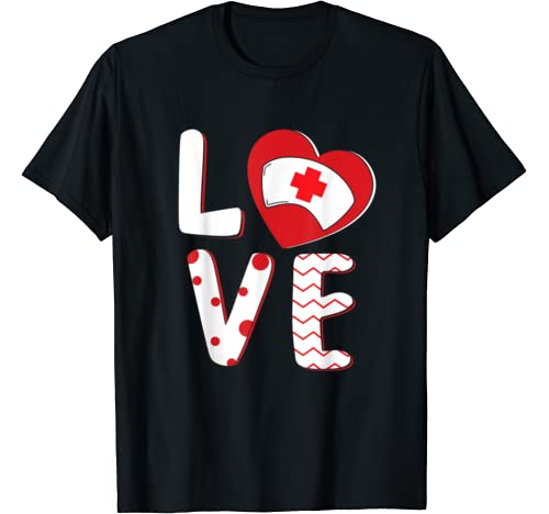 Love Heart Nurse Hat Funny Valentine's Day Gifts For Nurse T Shirt