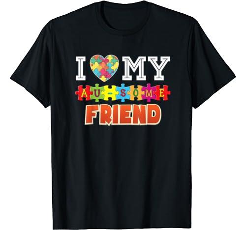 I Love My Au Some Friend Autism Awareness Awesome Rainbow T Shirt