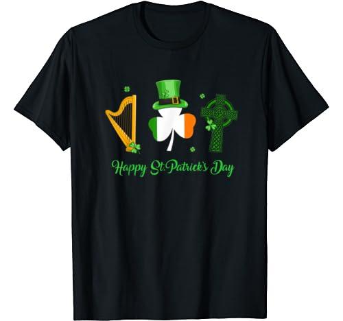 Harp Ireland Flag Green Celtic Cross Happy St Patrick's Day T Shirt